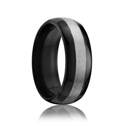 Black Zirconium Ring with Center Stripe