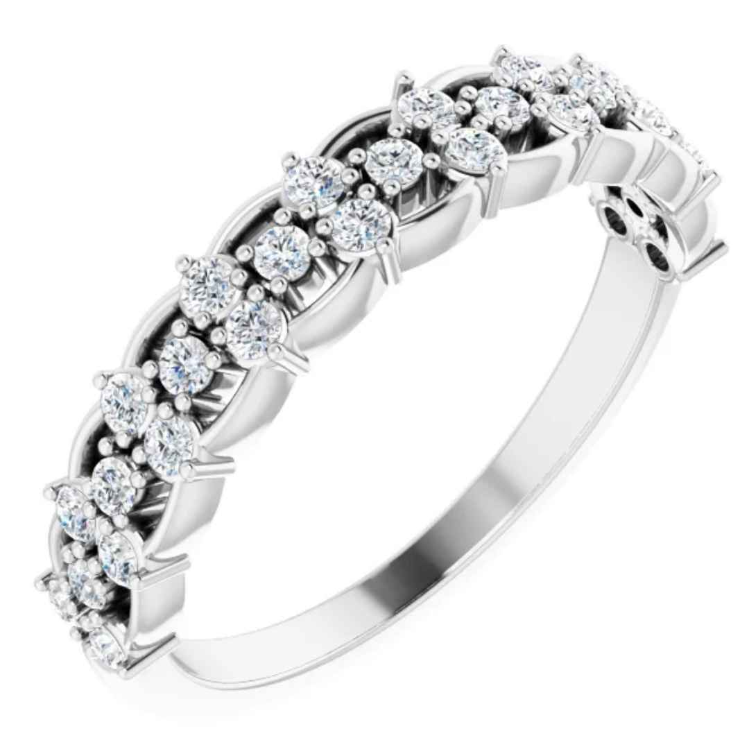 Women's White Gold Wedding Ring with Diamonds