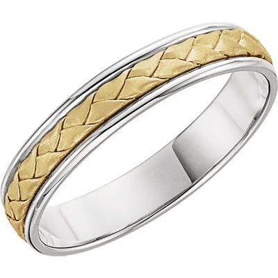 CORDA | Men's Wedding Ring | 14k White & Yellow Gold | 4mm