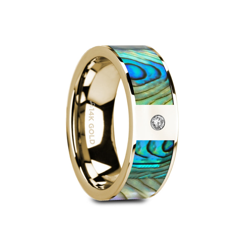 Gold Wedding Ring with Mother of Pearl and Solitary Diamond