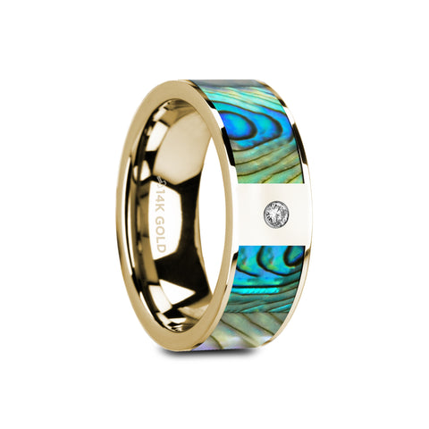 CORONADO    Flat Polished 14K Yellow Gold Mother of Pearl Inlay & White Diamond Setting    |    8mm - TCRings.com