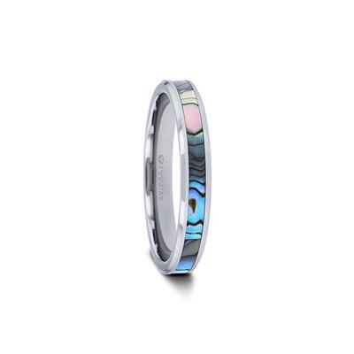 Men's Tungsten Ring with Mother of Pearl