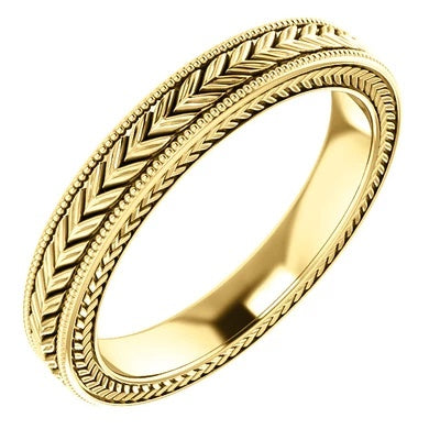 14k Gold Wedding Ring with Pattern