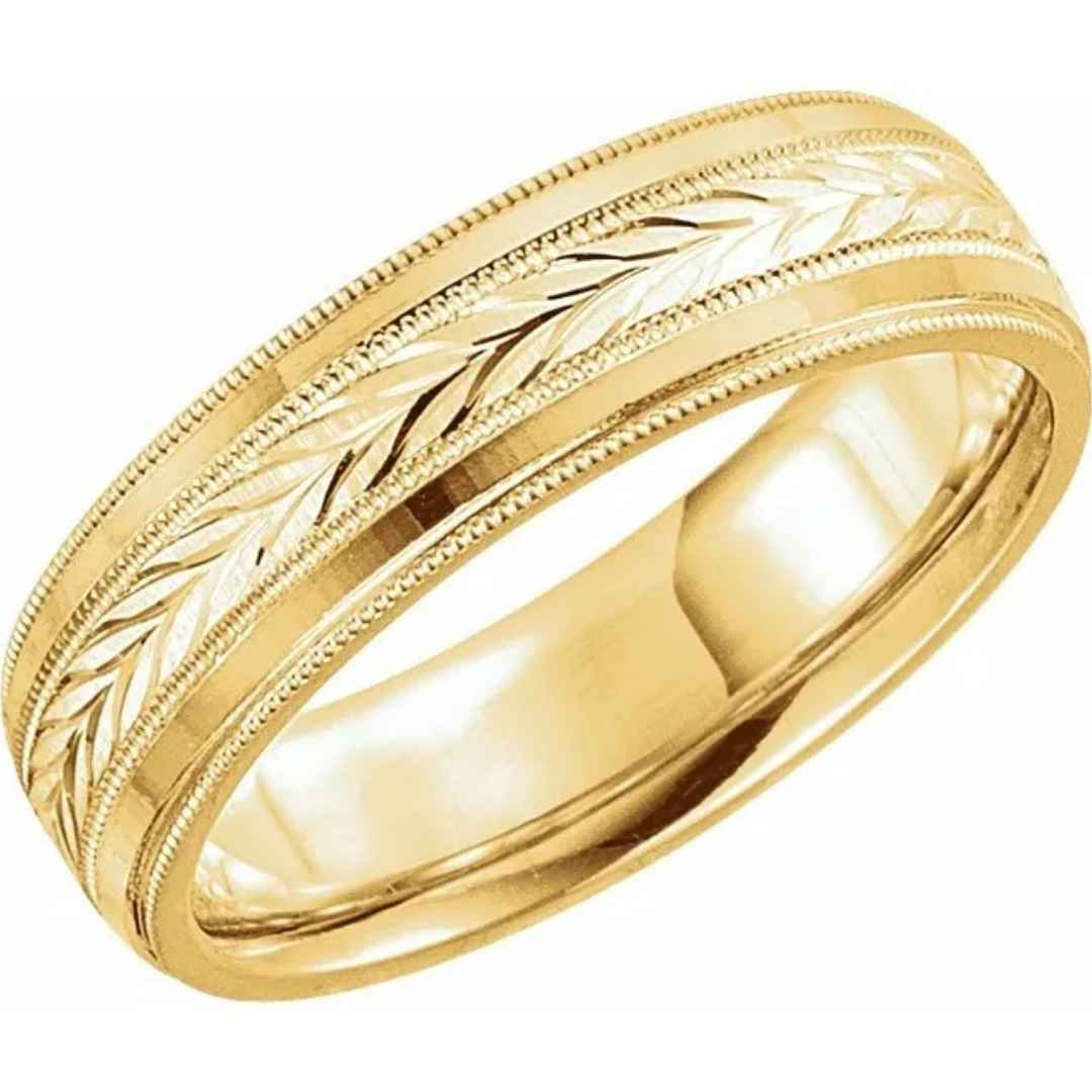 6mm Wheat Pattern Wedding Band
