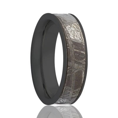 Black Zirconium Ring with Meteorite Inlay