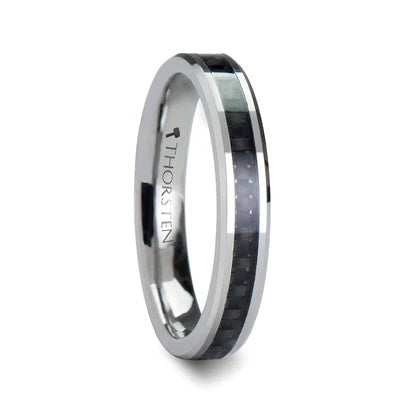 Tungsten Wedding Ring Black Carbon Fiber Inlay