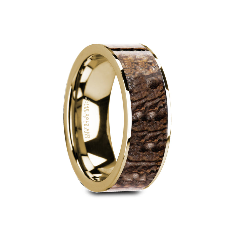 CRETO | Men's Wedding Ring | Dinosaur Bone Inlay | Gold Ring | 8mm - TCRings.com