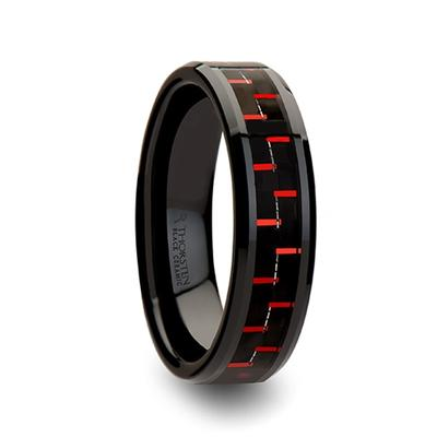 Black Ceramic Wedding Band with Inlay