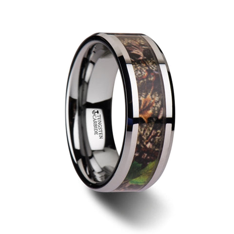 CHAPARRAL Tungsten Carbide Ring with Green Leaves Camo 8mm