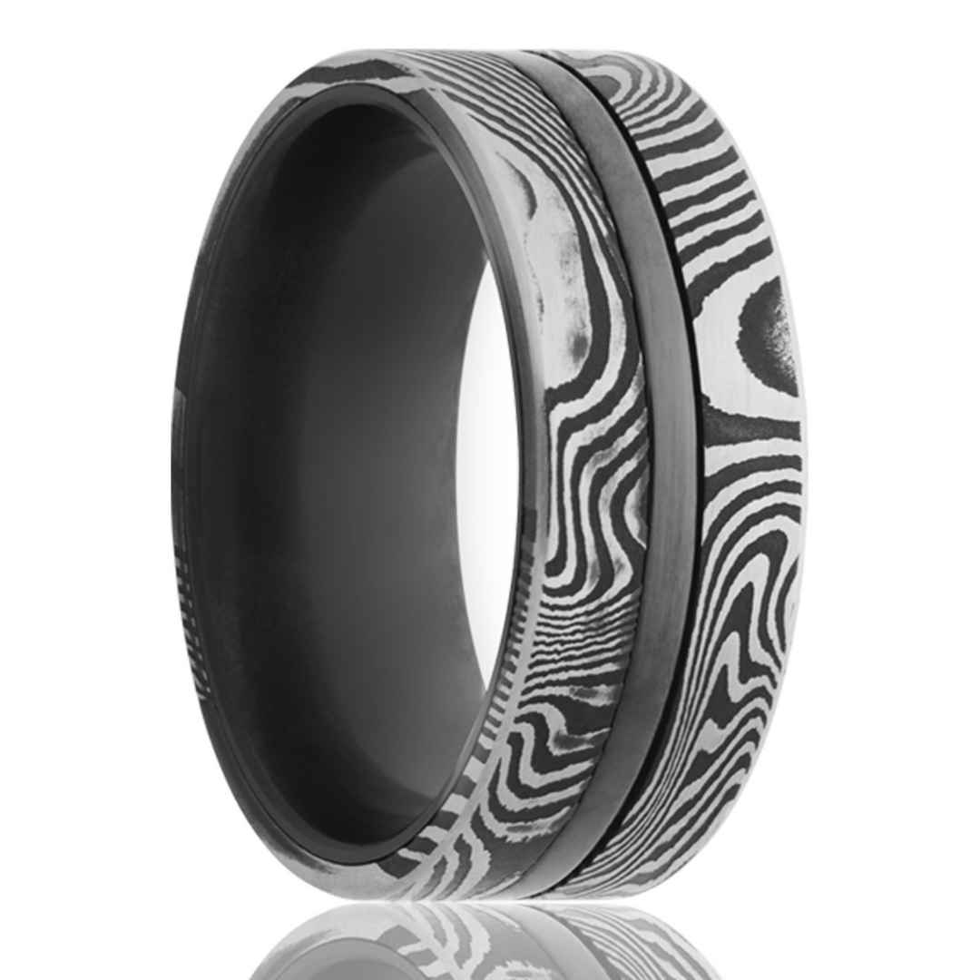 Men's wedding ring in zirconium with Damascus steel overlay