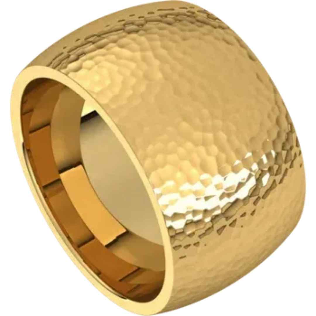 Men's 14k yellow gold wedding ring with hammered finish