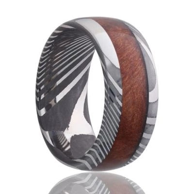 Men's Ring Damascus Steel with Burl Wood Inlay