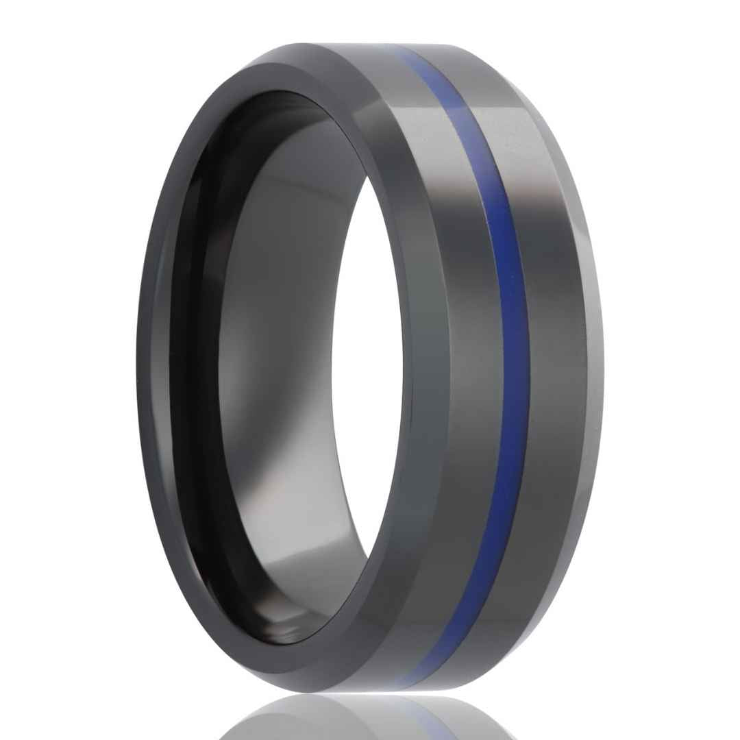 Men's black diamond ceramic ring with blue inlay