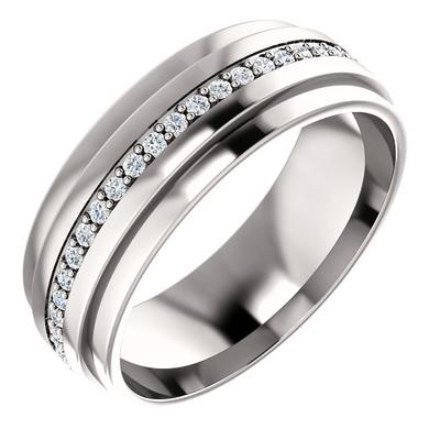 White Gold Wedding Ring with Diamonds for Men
