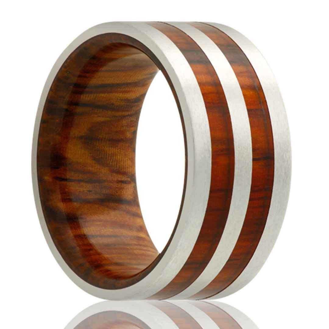 Cobalt ring with wood inlay