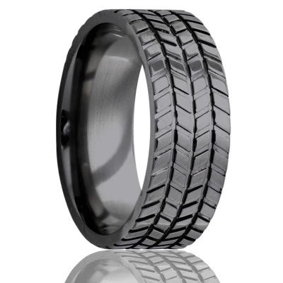 Tire Tread Ring Black Zirconium