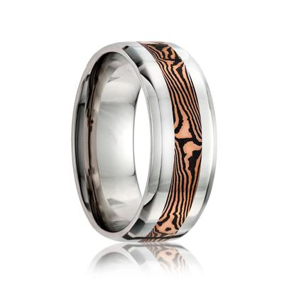 Cobalt Wedding Band with Gold Mokume Inlay