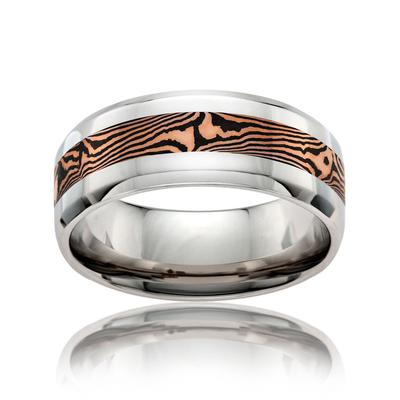 Men's Cobalt Wedding Ring Gold Inlay