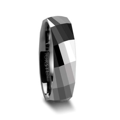 Tungsten Wedding Ring for Men Faceted