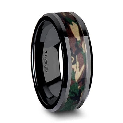 Men's Black Wedding Ring Camo