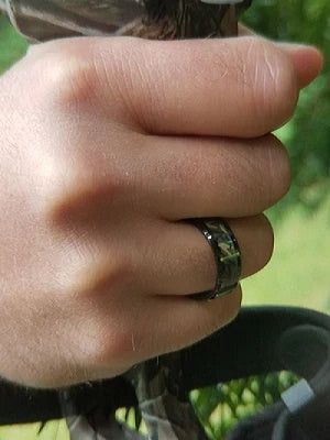 Men's Black Wedding Band Camo