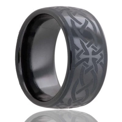 Black Ceramic Wedding Ring with Celtic Design