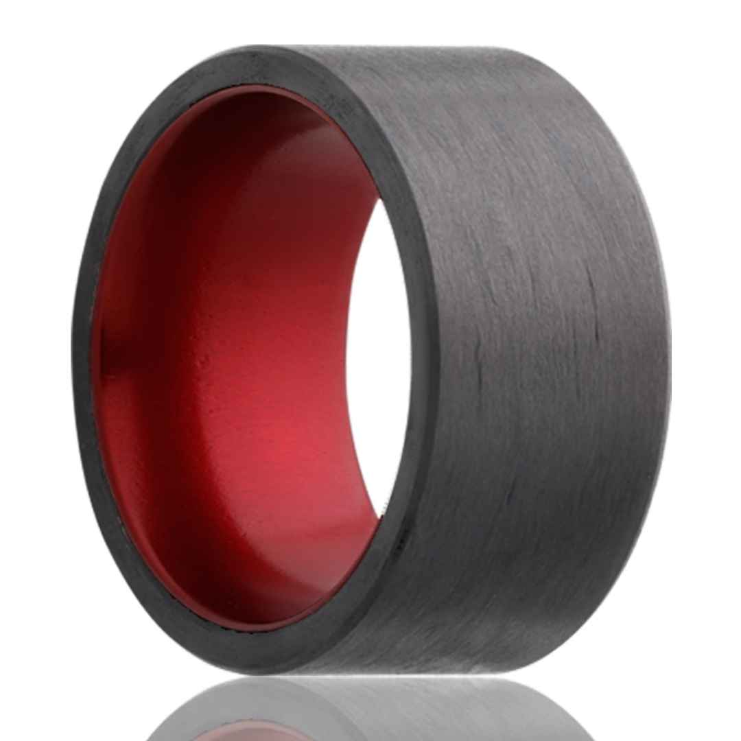 Men's carbon fiber wedding ring with red insert