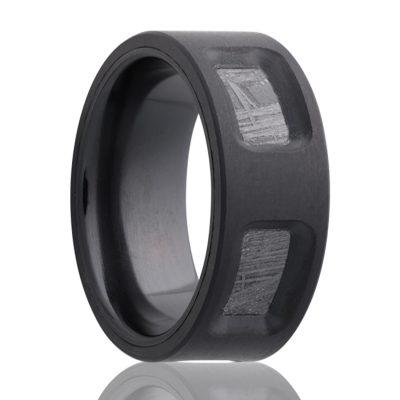 Black Zirconium Meteorite Ring