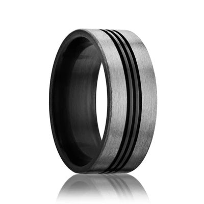 Men's Wedding Ring Zirconium Grooved