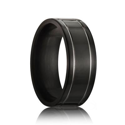 Black Zirconium Wedding Ring Double Grooved