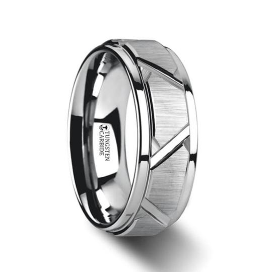 DELTA | Men's Tungsten Carbide Ring Grooved | 8mm - TCRings.com