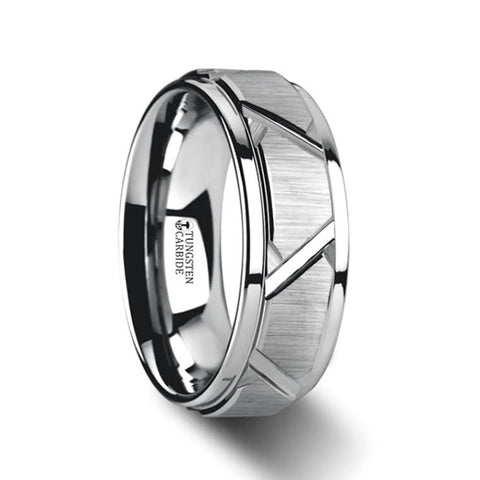 DELTA | Tungsten Ring with Triangle Angle Grooves and Raised Center | 8mm - TCRings.com