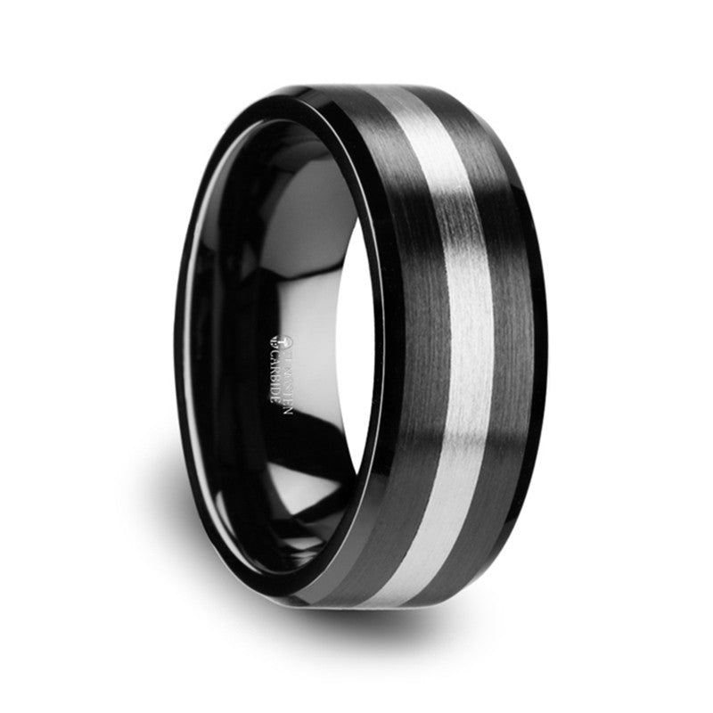 DEMETER | Brushed Black Ceramic Ring with Tungsten Inlay and Beveled Edges | 6mm & 8mm - TCRings.com