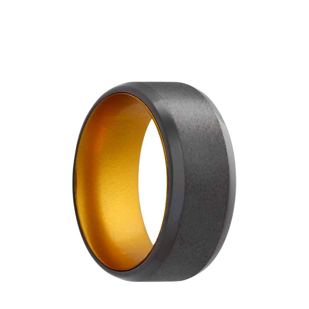 Men's beveled edge zirconium with gold inlay wedding ring