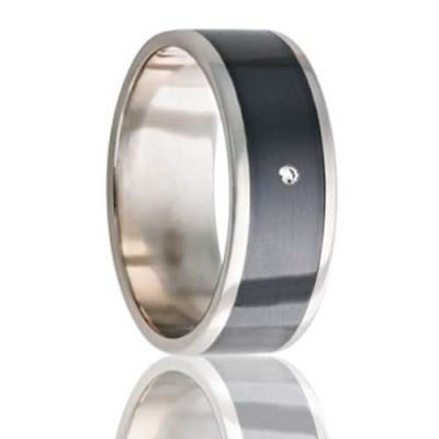 Men's Gold Wedding Ring with Diamond
