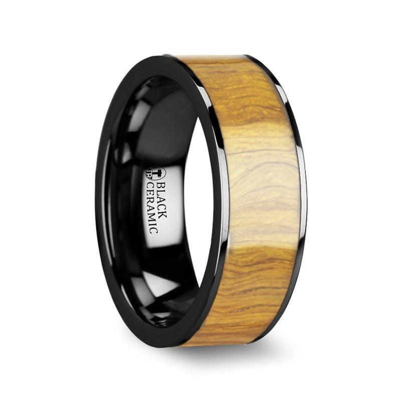 ELAIA | Flat Black Ceramic Ring with Olive Wood Inlay | 8mm - TCRings.com