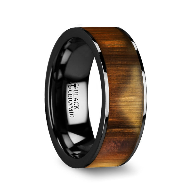ELAIA | Olive Wood Inlay on Black Ceramic Ring | 8mm - TCRings.com