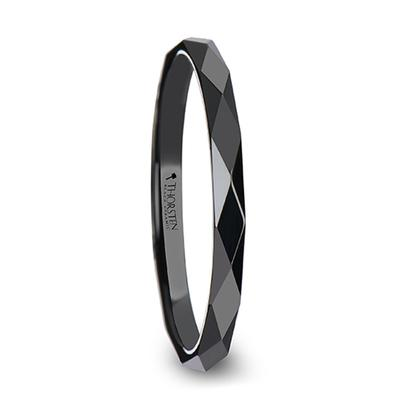 ELEANORA | Women's Black Wedding Ring | Black Ceramic | Extra Thin | Faceted | 2mm