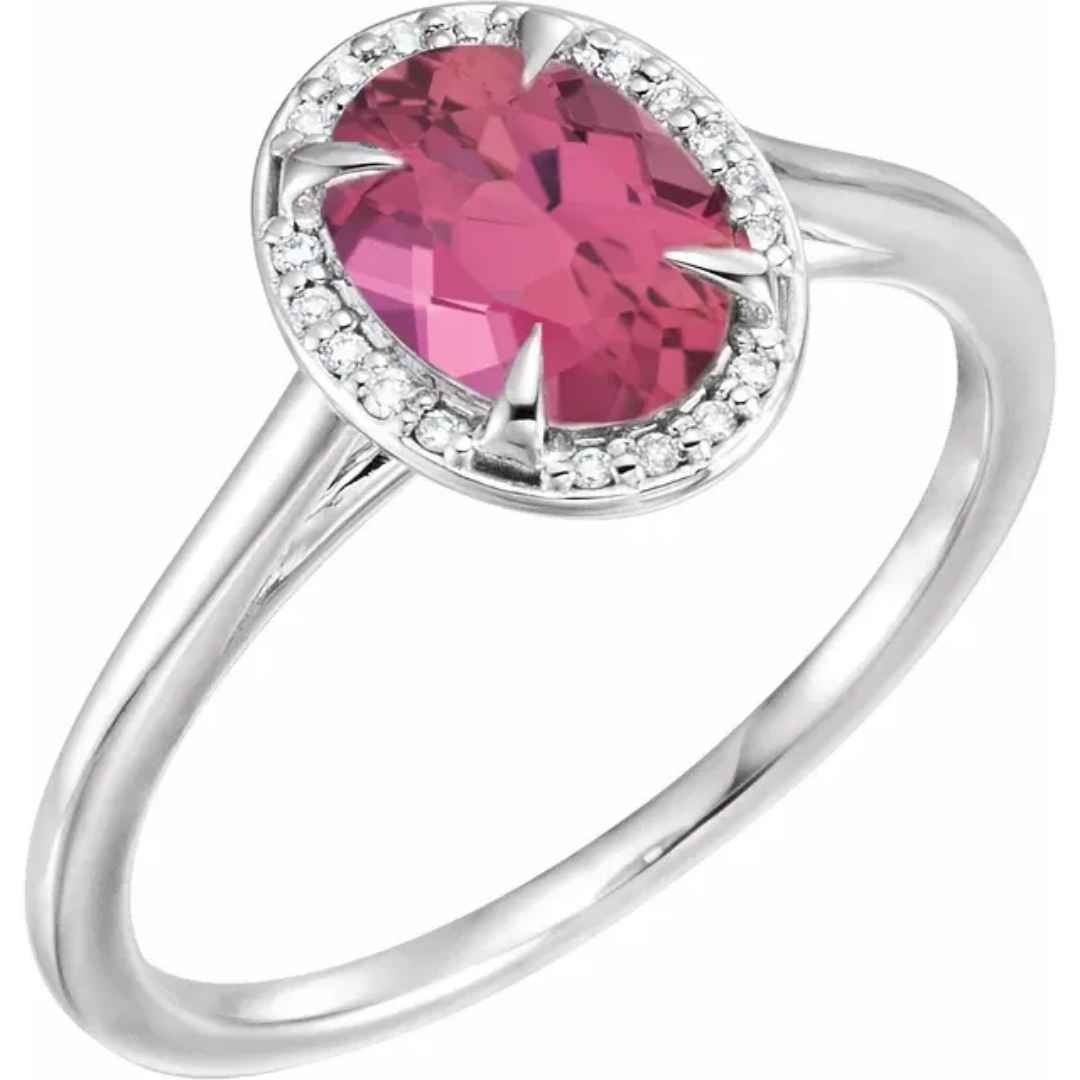Women's 14K white gold pink tourmaline engagement ring with 8 x 6 mm stone