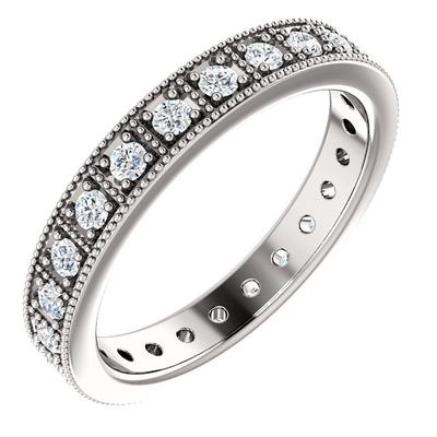 White Gold Wedding Band | White Diamonds