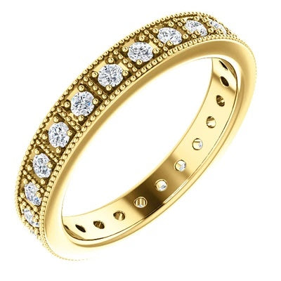 Yellow Gold Wedding Band | White Diamonds