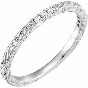 14k White Gold Wedding Ring with White Diamonds