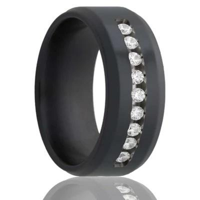 Black Wedding Ring with Channel Set Diamonds
