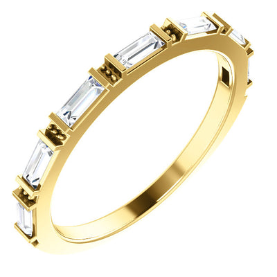 ETTA | Gold Wedding Band | Baguette White Diamonds | 14k Gold | 2mm