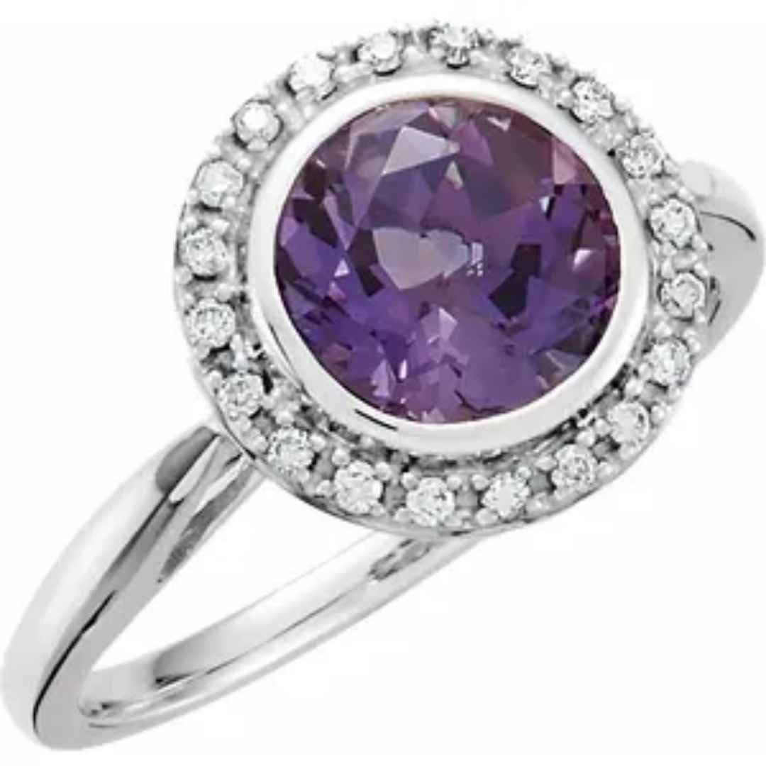 Women's 14k white gold halo amethyst engagement ring