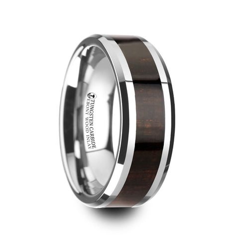 EBENUM | Ebony Wood Inlaid Tungsten Carbide Ring with Bevels | 8mm - TCRings.com