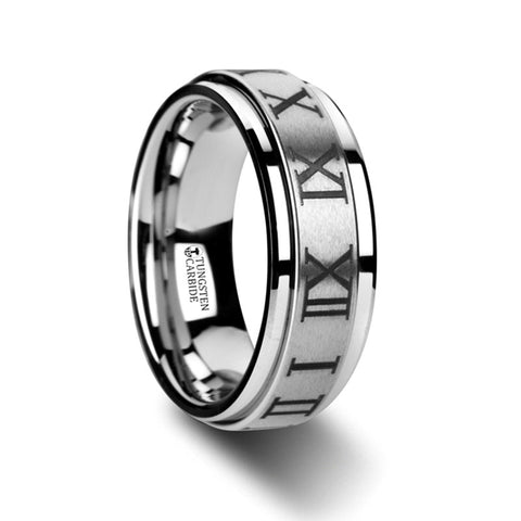 EMPIRE Raised Center Brushed Finish Spinner Ring with Roman Numerals   8mm