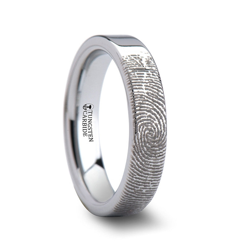 ESSENCE | Fingerprint Engraved Flat Cut Tungsten Ring Polished | 4mm, 6mm, 8mm, 10mm & 12mm - TCRings.com