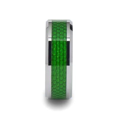 Men's Wedding Band with Green Carbon Fiber Inlay