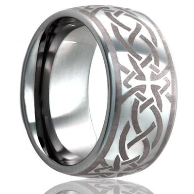 Tungsten Ring with Ancient Cross Pattern